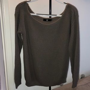 Missguided taupe colored wide neck sweater!